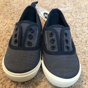 Old navy toddler boy size 8 slip on shoes. Navy.